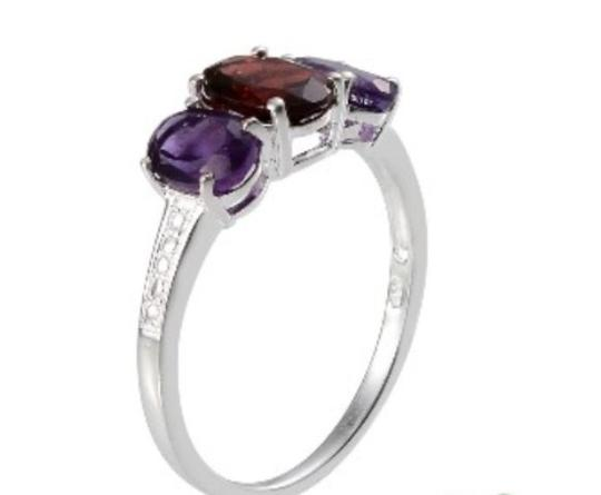 Other Genuine Mozambique Garnet and Amethyst Sterling Silver Ring, 3.10cts Image 2