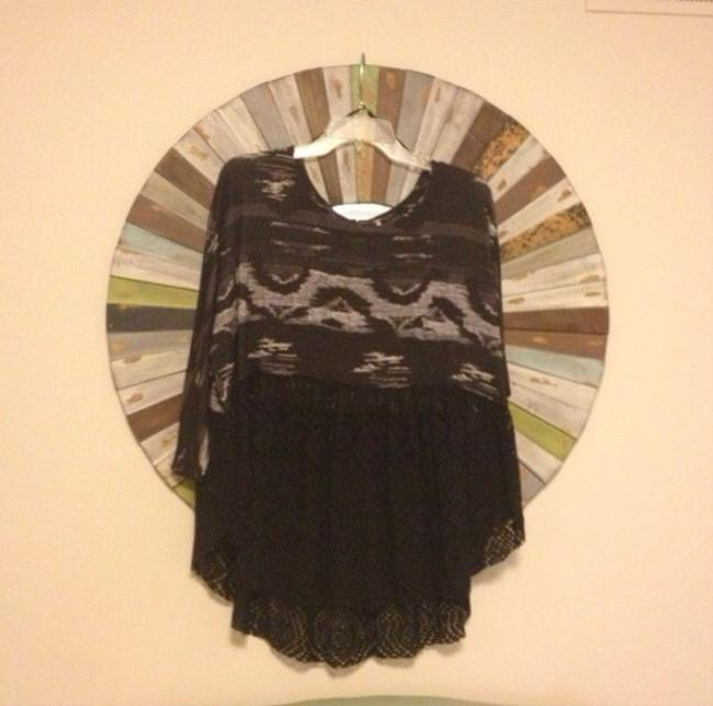 Free People Top Black, Charcoal, White