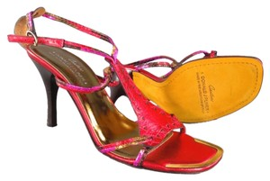 Donald J. Pliner Metallic Pink Gold Spring Red Sandals