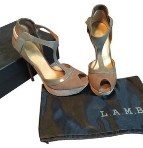 L.A.M.B. Suede Patent Leather T-strap Taupe/Brown Platforms