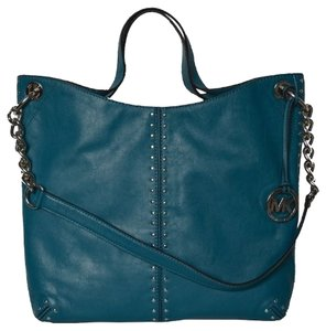 Michael Kors Studded Shoulder Chain Designer Genuine Leather Tote in Turquoise