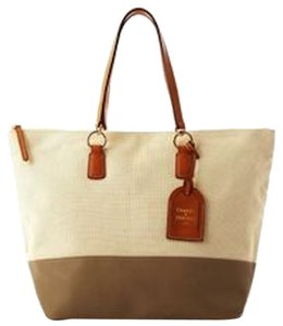 Dooney & Bourke Designer Summer Linen Shopping Tote in Taupe