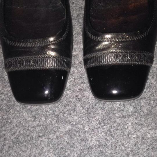 Prada Leather Leather Logo Black Flats
