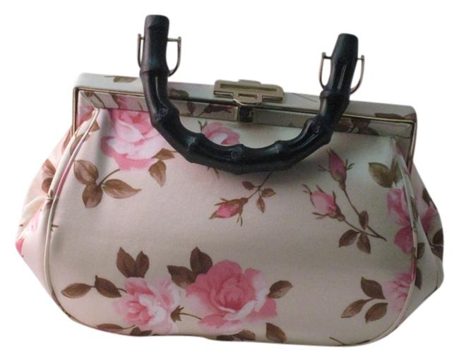 Item - Ivory Silk with Pink Roses and Brown Leaves Satchel