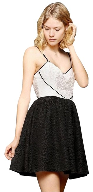 Urban Outfitters short dress Black/Ivory Mini A-line Textured Sweetheart Adstable Straps on Tradesy