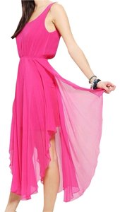 Fuchsia Maxi Dress by Urban Outfitters Silk Chiffon Maxi Lattice Back V-back