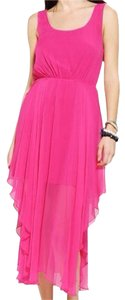 Fuchsia Maxi Dress by Urban Outfitters Silk Chiffon Maxi V-back