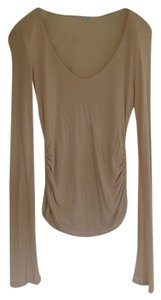 James Perse Side Ruched Long Sleeve Buttery Cotton Blend T Shirt Nude