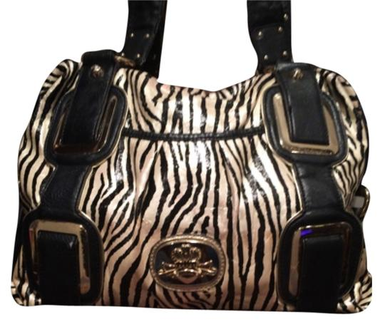 Preload https://img-static.tradesy.com/item/8093035/kathy-van-zeeland-lg-animal-print-metallic-satchel-purse-hot-rare-daynight-blackwhite-vinyl-shoulder-0-2-540-540.jpg