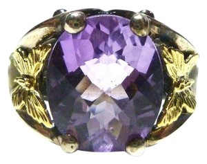 Ann King ANN KING STERLING SILVER 18K GOLD BUTTERFLY PEARL & AMETHYST WOMENS RING SIZE 6