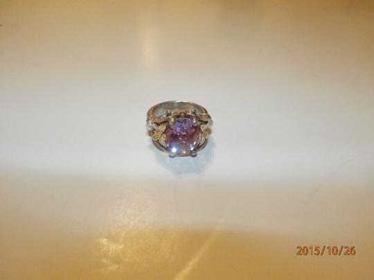 Ann King ANN KING STERLING SILVER 18K GOLD BUTTERFLY PEARL & AMETHYST WOMENS RING SIZE 6 Image 4