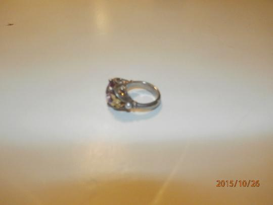 Ann King ANN KING STERLING SILVER 18K GOLD BUTTERFLY PEARL & AMETHYST WOMENS RING SIZE 6 Image 5