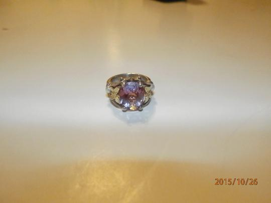 Ann King ANN KING STERLING SILVER 18K GOLD BUTTERFLY PEARL & AMETHYST WOMENS RING SIZE 6 Image 7