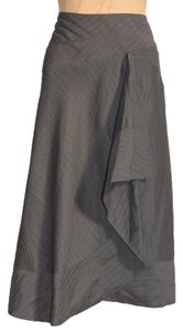 DKNY Striped Ruffle 6 Skirt GRAY