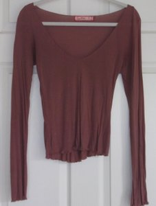 Sweetees Longsleeve Casual Sporty V-neck Scoop Back Comfortable Boho Chic Party Classic Top Brown