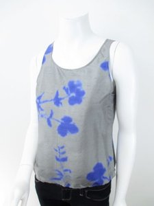 Giorgio Armani Floral Raw Silk Blouse Shirt Eu Top Gray, Blue