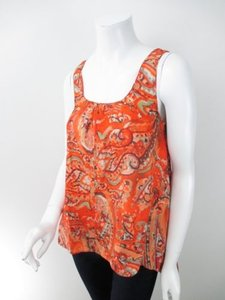Michael Kors Michael Paisley Trapeze Silk Blouse Top Orange, Red