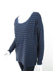 Michael Stars Anthropologie Striped Long Sleeve Tee Os T Shirt Blue, Black