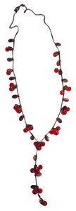 Glass Cherries Drop Lariat Style retro inspired necklace