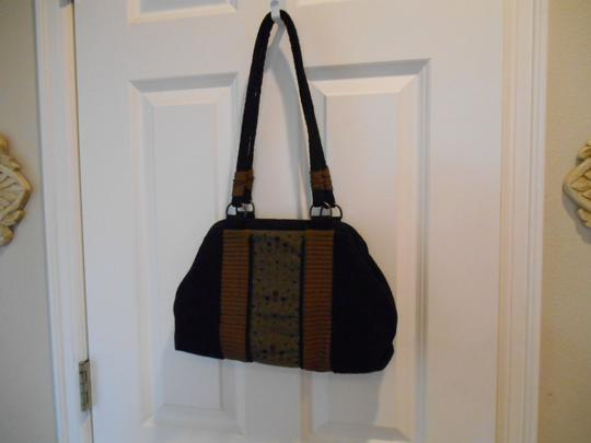 Other Wool Edgy Artsy Satchel in Black Bronze Browns