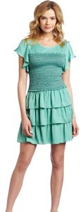 BCBGMAXAZRIA short dress LIGHT AQUA Smocked Larra Bodice Tiered on Tradesy