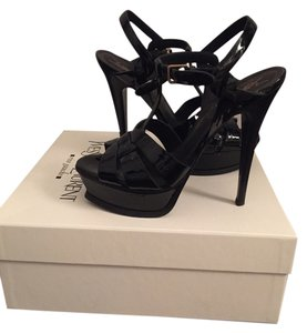 Saint Laurent Ysl Tribute Black Patent Leather Sandals