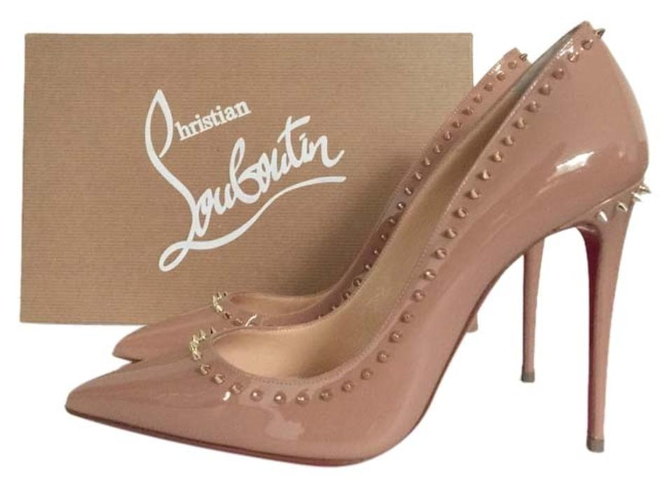 63cf25354309 Christian Louboutin Anjalina Gold Spike Spiked Spikes Stuffrf Patent Leather  Decollete Pigalle Follies So Kate Nude ...