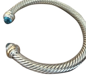 David Yurman Cable Classic Bracelet with Blue Topaz and Gold -