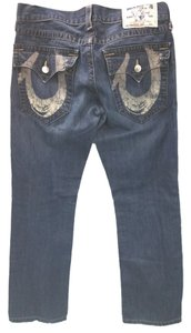 True Religion Blue Cotton Straight Leg Jeans-Medium Wash