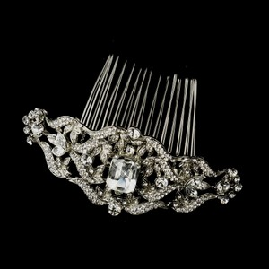 Elegance By Carbonneau Antique Silver Rhinestone Wedding Comb