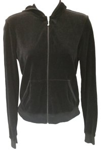 Juicy Couture JUICY COUTURE BLACK VELOUR HOODED JACKET L