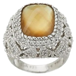 Judith Ripka Judith Ripka Sterling Collection Chamgagne Quartz Doublet Ring Size 5