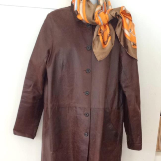 SOLOW Leather Horn Button Overcoat Jenisa Washington 3/4 Length Trench Coat