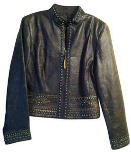 Other Distressed Black Brown with embellishments Leather Jacket