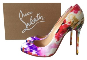 Christian Louboutin Fifi 100 100mm Satin Bouquet Floral Print Mulitcolor Maxi Fiori Orange Red Yellow Decollete So Kate Pigalle Follies White Pumps