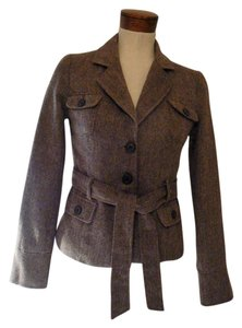 Forever 21 Women's Front Front Button Closure Tie Waist Brown Jacket