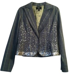 True Meaning Size 6 Polyester/rayon/spandex Black, Gray, Green Plaid with sequin embellishments Blazer