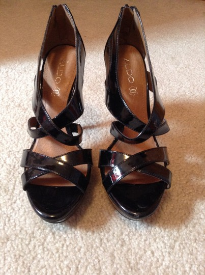 Aldo Genuine Leather Pumps Heels Peep Toe Black Platforms