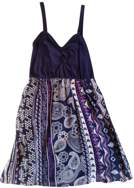 Pacific Sunwear short dress Navy/Multi Print Pacsun Navy on Tradesy