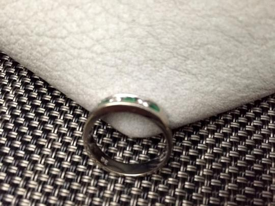 White Gold Genuine Diamonds Natural Emeralds Solid Size 6.5 Ring Image 2