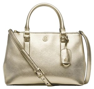 Tory Burch Metallic Metallic Satchel Metallic Saffiano Leather Tote in Gold