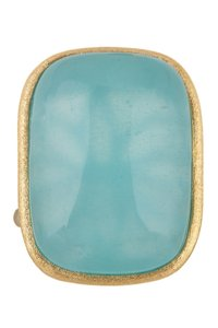 Rivka Friedman 18K Gold Clad Caribbean Blue Cabochon Bold Rectangular Ring