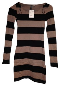 Divided by H&M short dress Beige with black stripes on Tradesy
