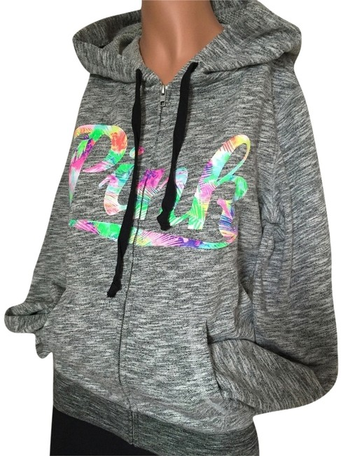 PINK Marled Gray/Tropical Victoria's Secret Perfect Xsmall Gray/Tropical Sweatshirt/Hoodie Size 2 (XS) PINK Marled Gray/Tropical Victoria's Secret Perfect Xsmall Gray/Tropical Sweatshirt/Hoodie Size 2 (XS) Image 1