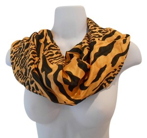 Elaine Gold Silk Vintage Scarf Tiger Animal Print Hand Rolled Square