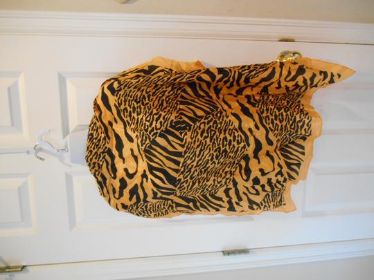 Other Elaine Gold Silk Vintage Scarf Tiger Animal Print Hand Rolled Square