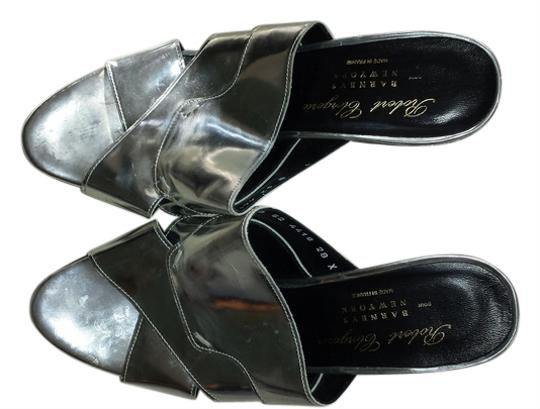 Robert Clergerie Patent Leather Silver Wedges