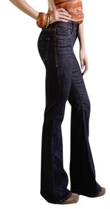 !iT Jeans High Rise Comfortable New Soft Comfy Long Dark Rinse Denim Snug Flare Leg Jeans-Dark Rinse