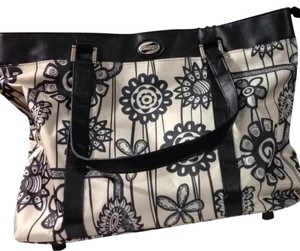 American Tourister Tote in Beige And Black Flowers