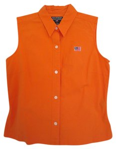 Polo Ralph Lauren Cotton Rl Summer Button Down Top Orange